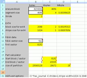 flash memory settings calculator